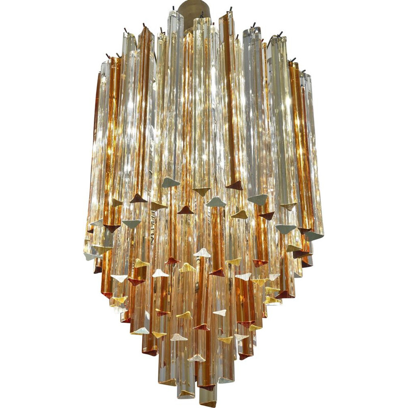 Vintage chandelier for Venini in Murano glass and metal 1970