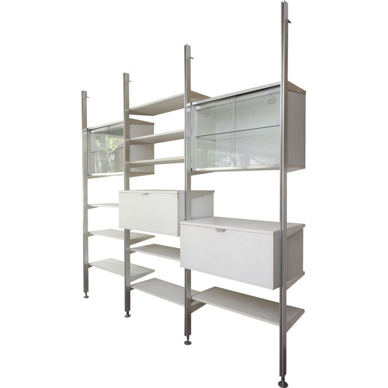 Vintage bookcase in white lacquered wood and metal 1970