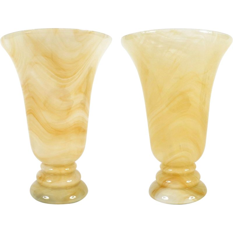 Set of 2 vintage italian glass table lamps 1970