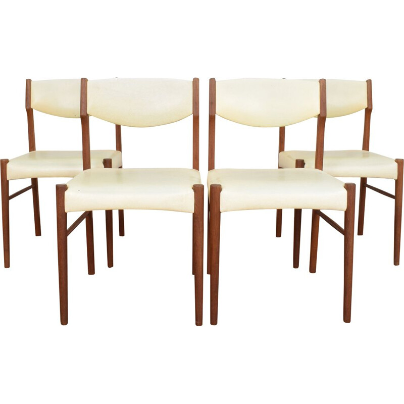 Vintage set of 4 Danish dining chairs in teak,1960