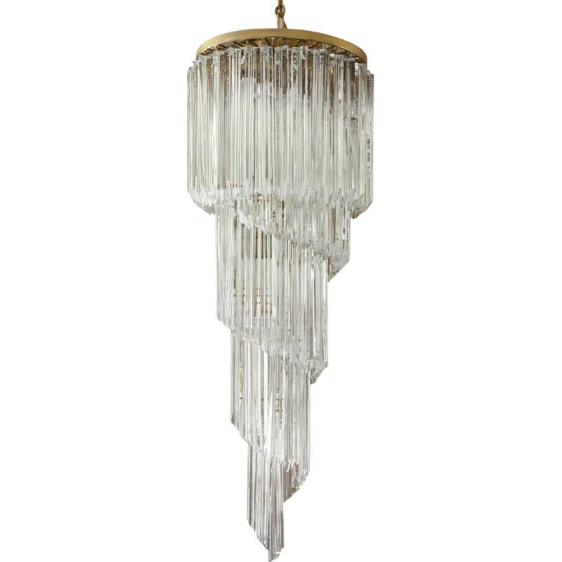 Vintage Cascade chandelier for Murano in metal and Murano glass 1970