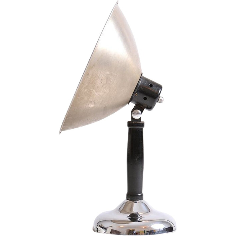 Industrial table lamp in metal and chrome - 1930s