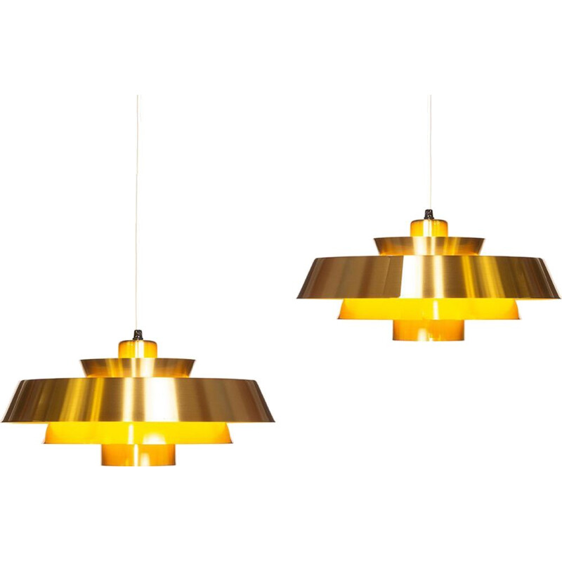 Set of 2 vintage hanging lamps in brass Nova by Jo Hammerborg for Fog & Mørup 1960s