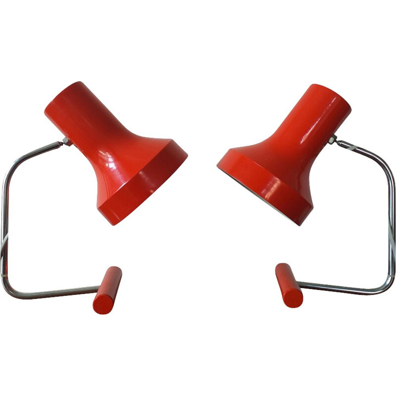 Pair of vintage red table lamps by Josef Hurka for Napako 1970s