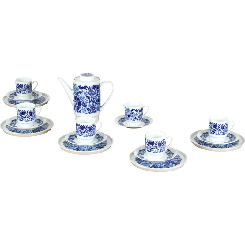 Vintage coffee set for Kahla in blue porcelain and ceramics 1960