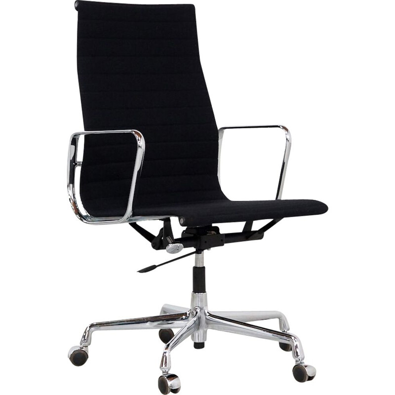 Vintage EA 119 office chair by Eames for Vitra in black fabric and aluminium 1990