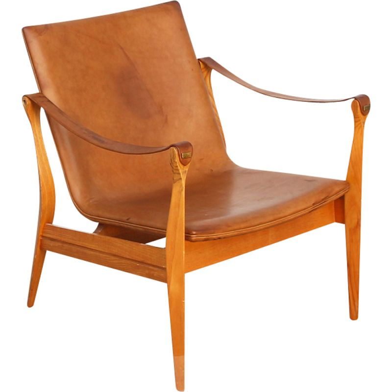 Vintage Safari armchair for Fritz Hansen in brown leather and oakwood 1960