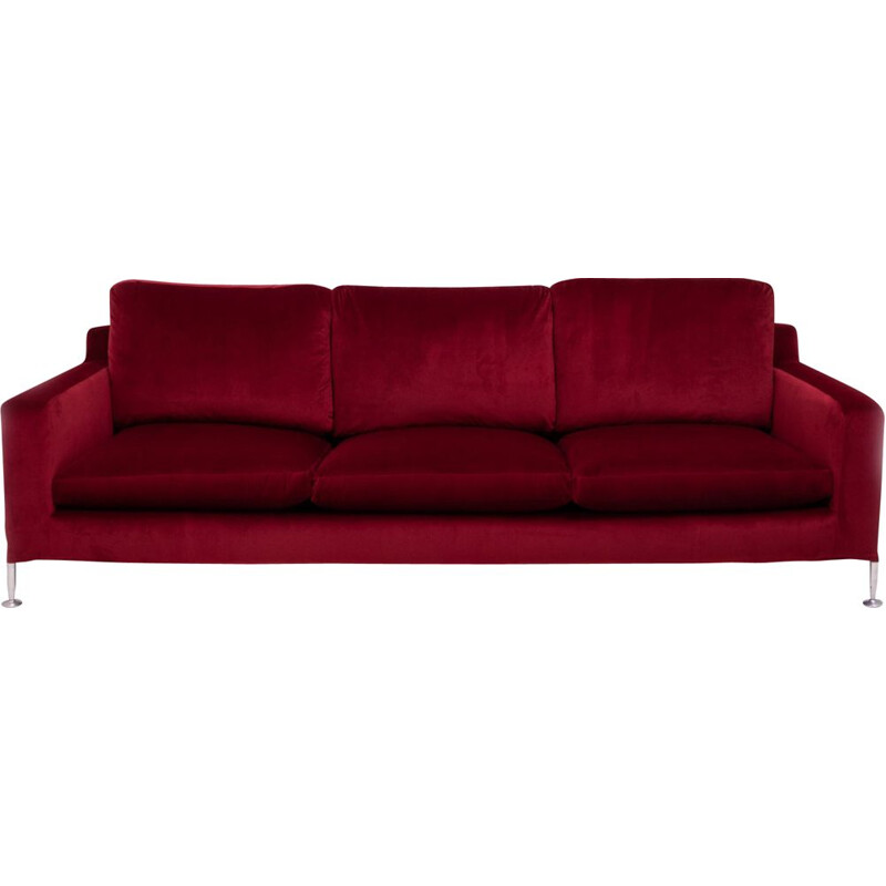 Vintage 3-seater sofa Harry red velvet by Antonio Citterio for B&B Italia 1995