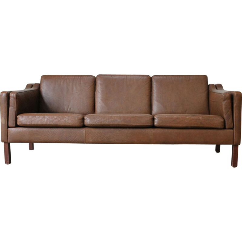 Vintage 3 seaters sofa dark brown leather 1960s