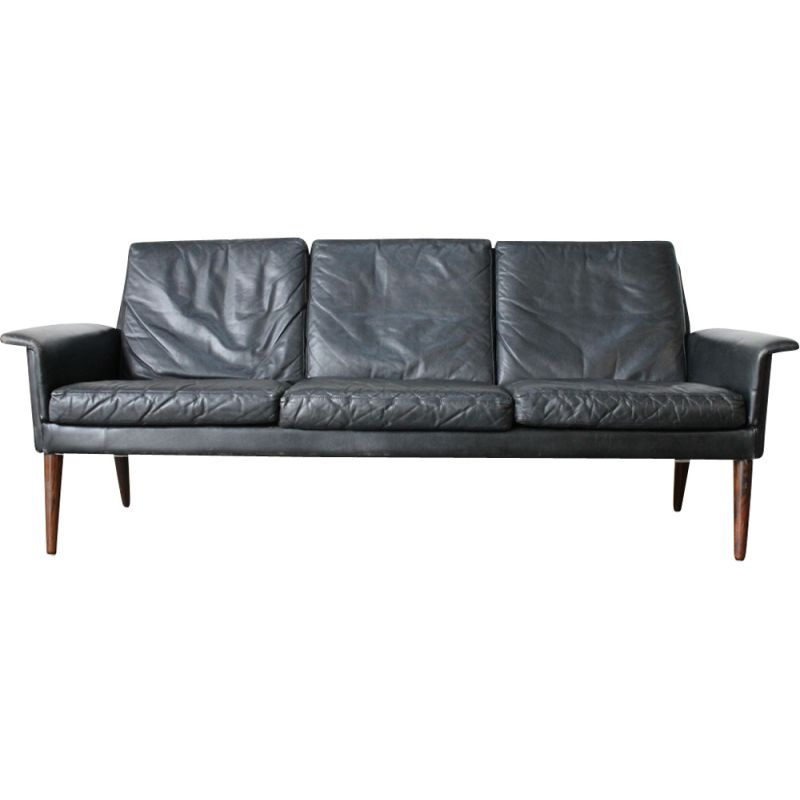 Vintage black leather 3 seater sofa by H. W Klein for Bramin 1960s