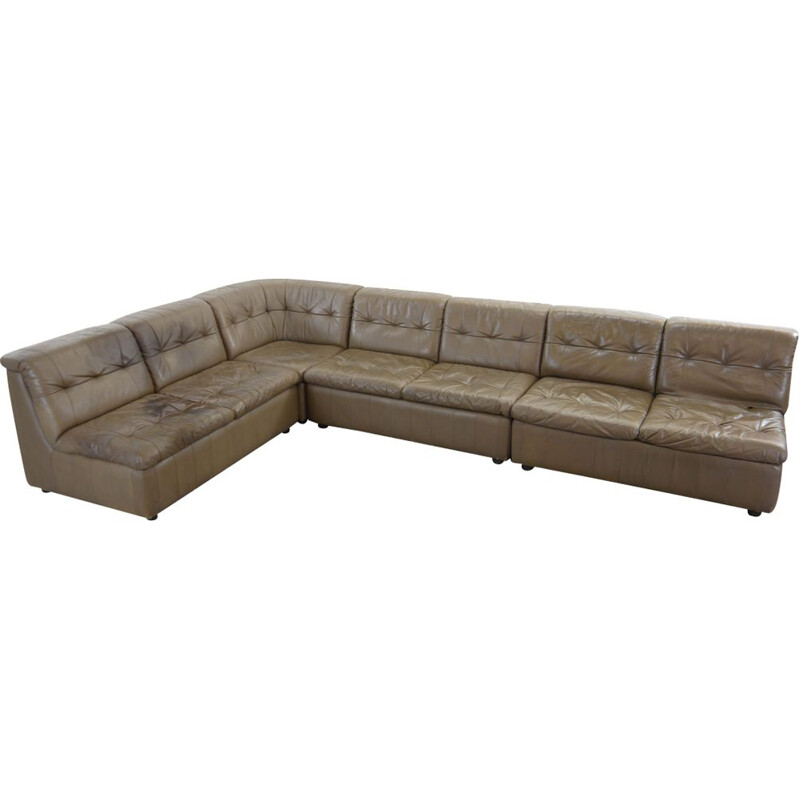 Vintage modular sofa in grey-brown leather