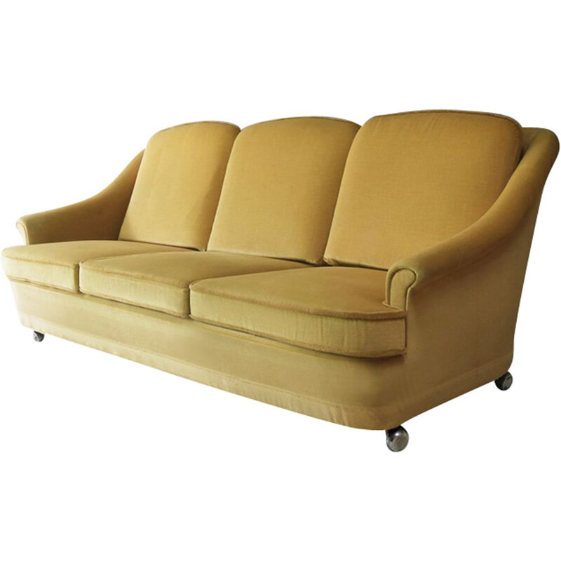 Vintage Danish 1960 sofa in yellow velour