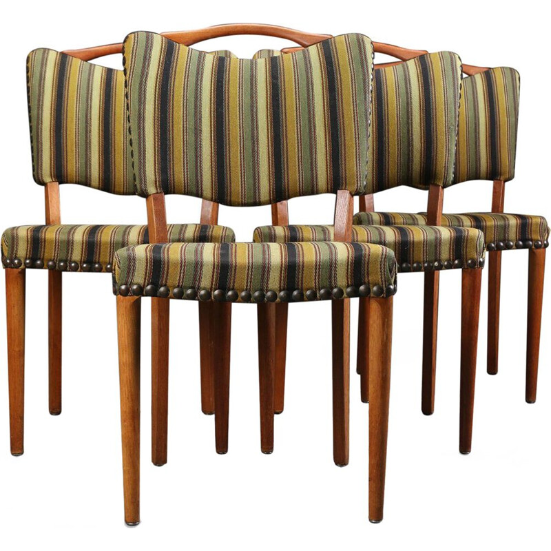 Vintage dining chair striped oak and teak Denmark 1950s