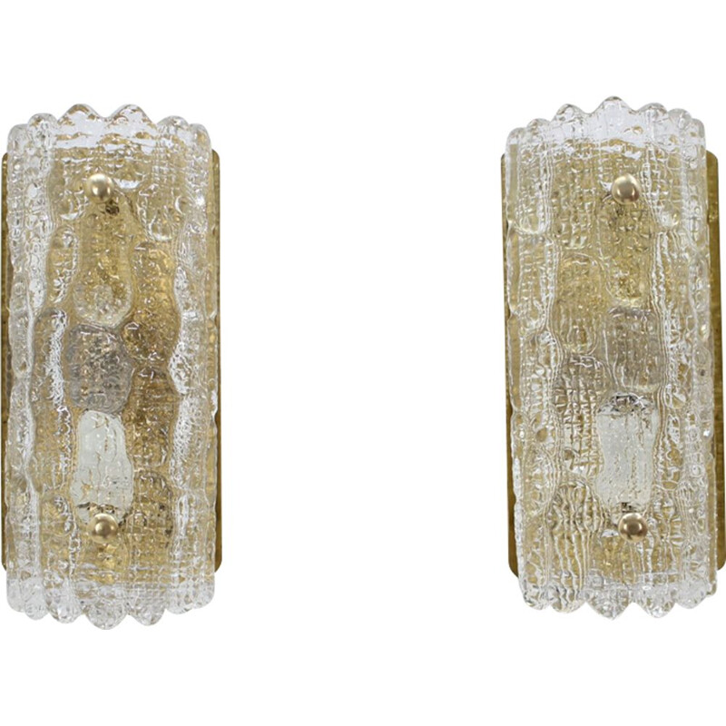 Set of 2 vintage wall lamps in glass Carl Fagerlund for Orrefors 1960s