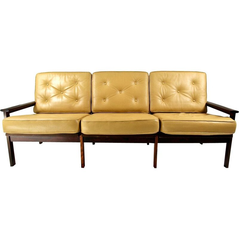 Vintage 3-seater sofa in rosewood Illum Wikkelso for Niels Eilersen, Danish 1960s