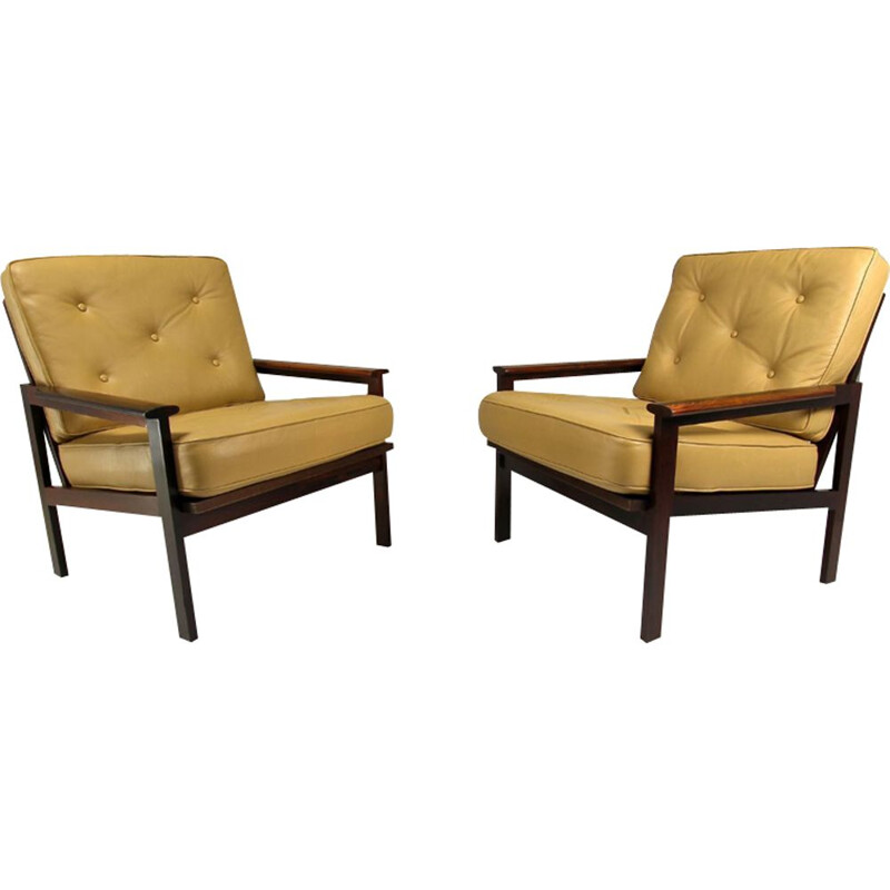 Set of 2 vintage armchairs and footstool by Illum Wikkelso for Niels Eilersen, Danish 1960s