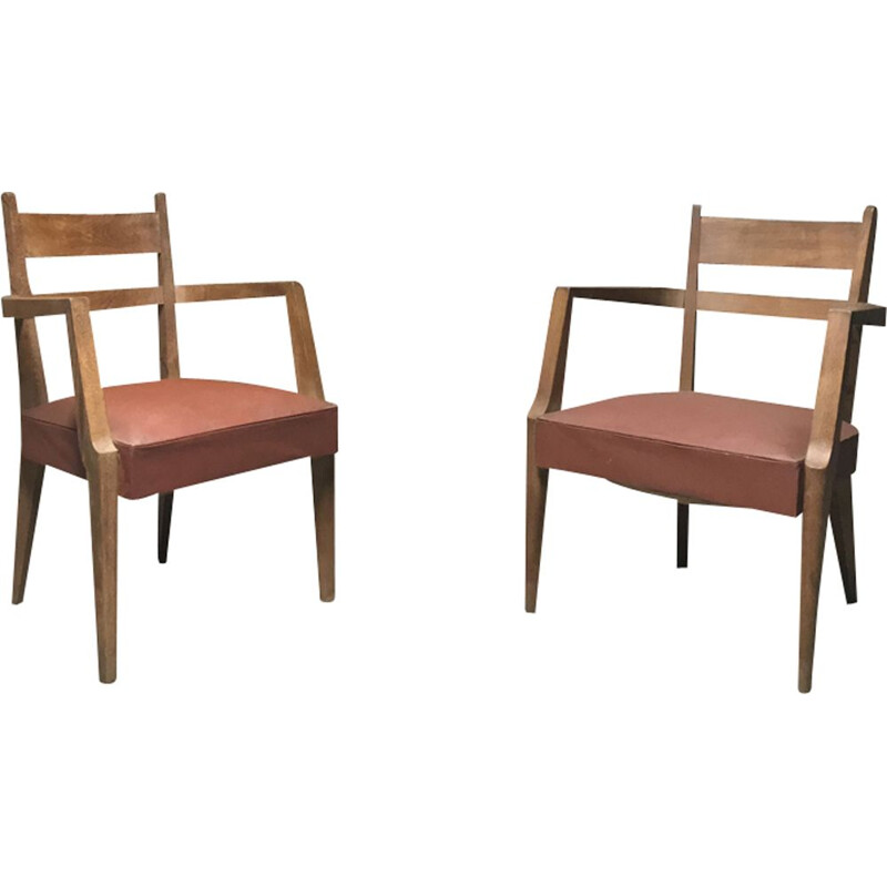 Pair of vintage Bridges armchairs for Caillette in oakwood 1940
