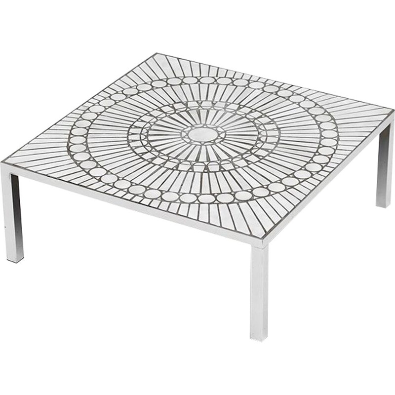 Vintage coffee table by Lutgart De Meyer in white ceramics and metal 1970