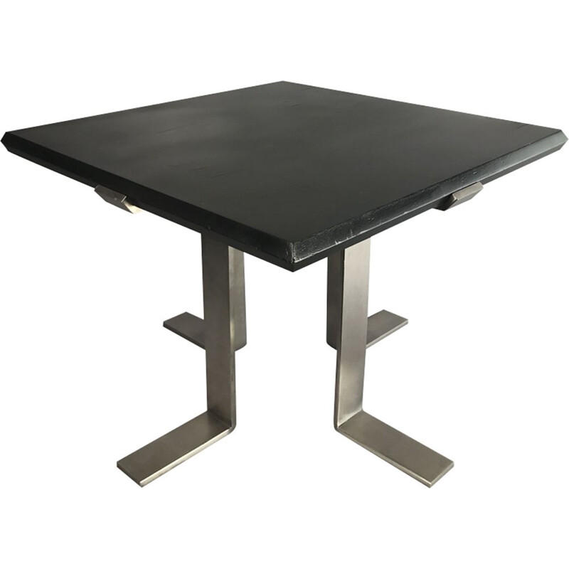 French vintage coffee table in stainless steel and wood repainted in black 1970