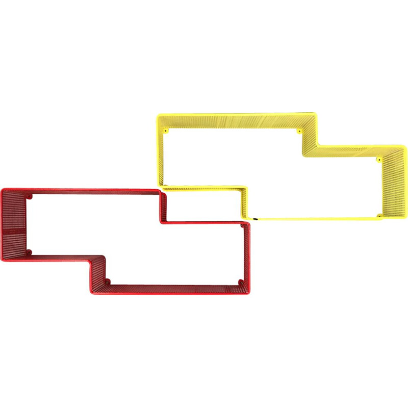 Pair of vintage shelves by Matégot in yellow and red lacquered metal 1950