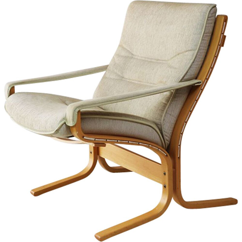 Vintage danish lounge chair in bentwood and beige fabric 1970