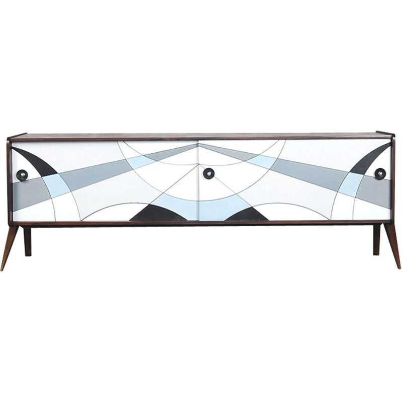 Vintage sideboard in walnut with blue-painted pattern 1960s