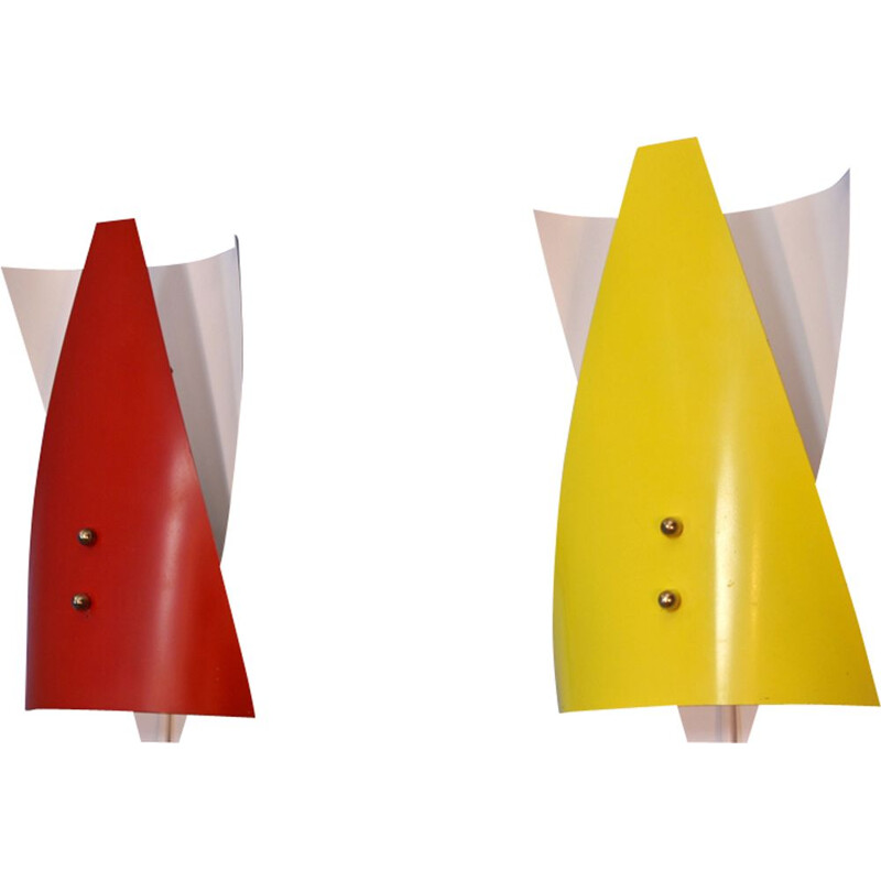 Pair of dutch vintage wall lights in red and yellow metal 1960