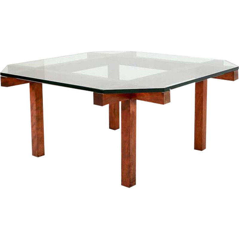 Vintage coffee table for Belform in teak and glass 1950