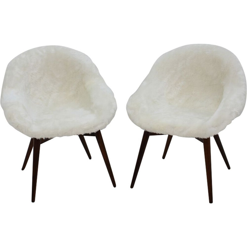 Pair of 2 vintage dining chairs by Miroslav Navratil ,1960