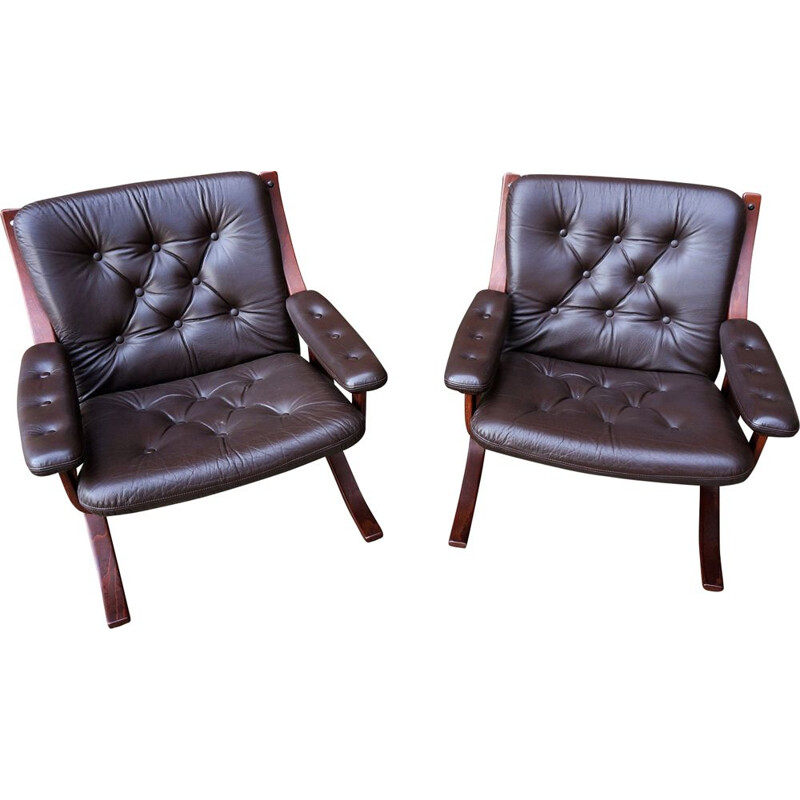 Vintage pair of Scandinavian leather armchairs,1970