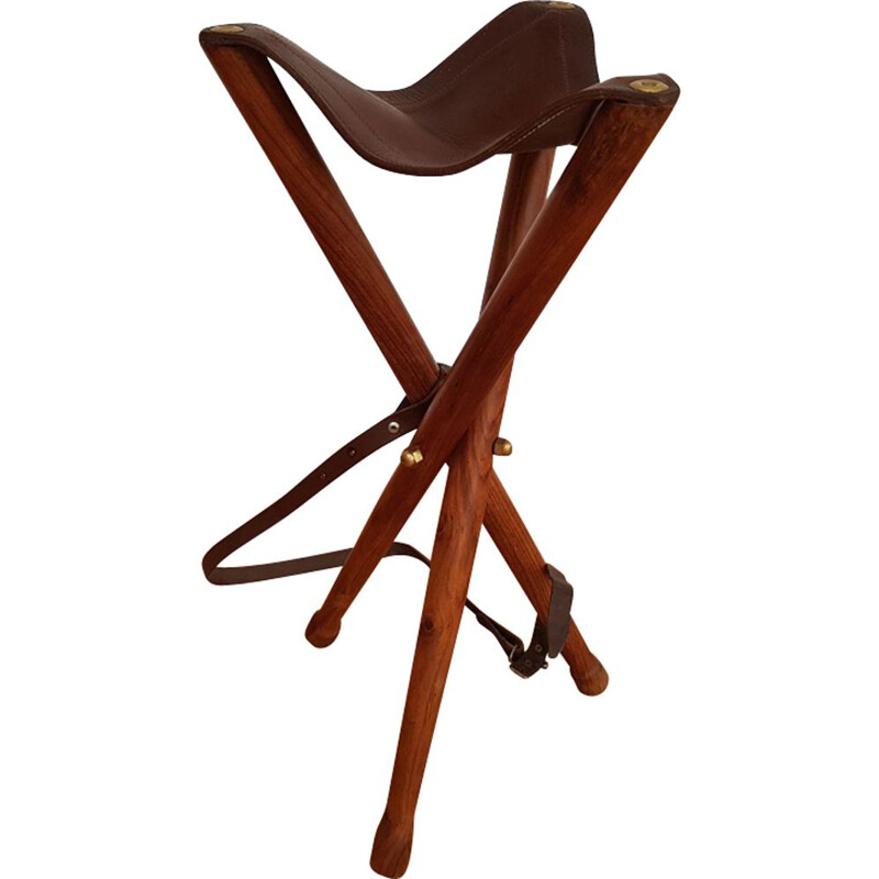 Vintage hunting stool in teak 1960