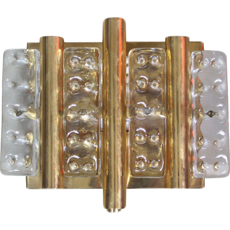 Vintage brass and glass wall light by Hans-Agne Jakobsson 1970s