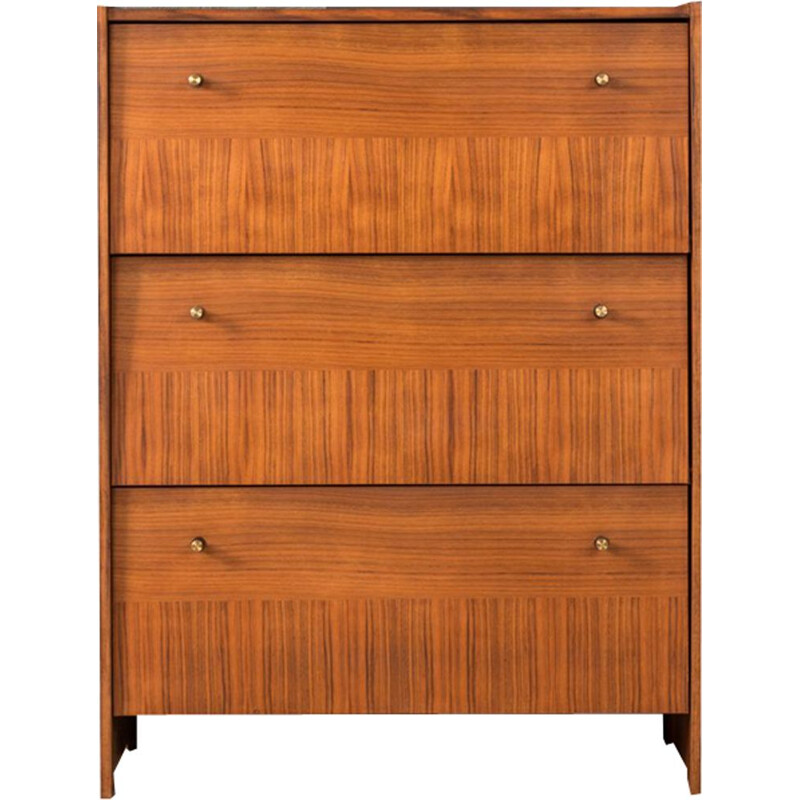 Vintage walnut shoe cabinet 1960