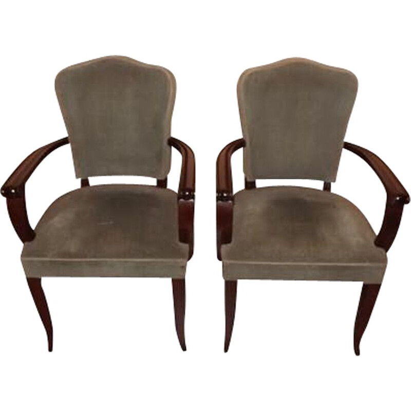 Pair of vintage armchairs bridge Gaston Poisson mahogany 1940