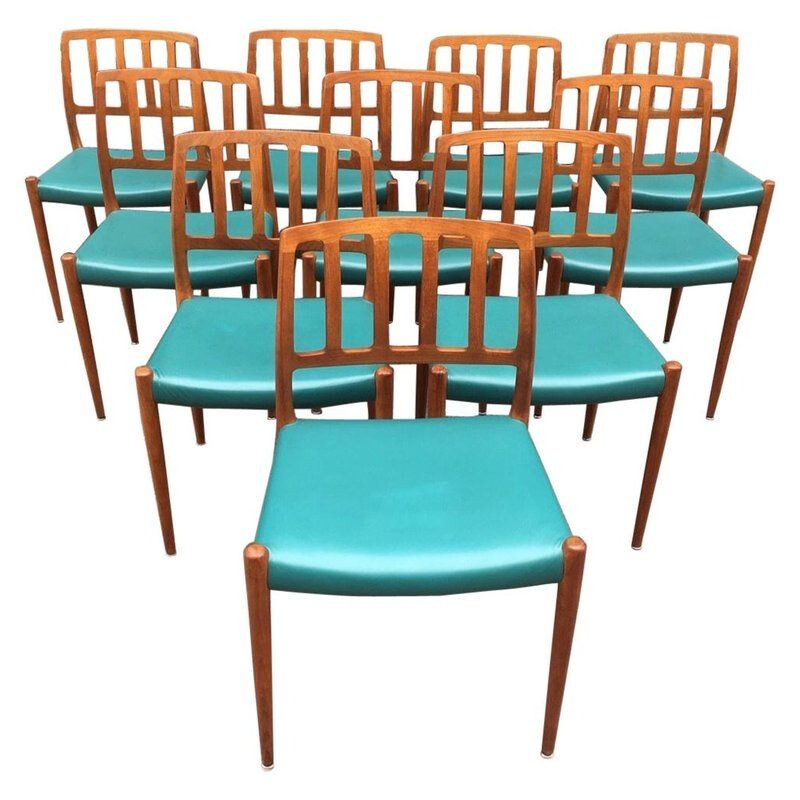 Set of 10 vintage teak chairs by Niels Moller