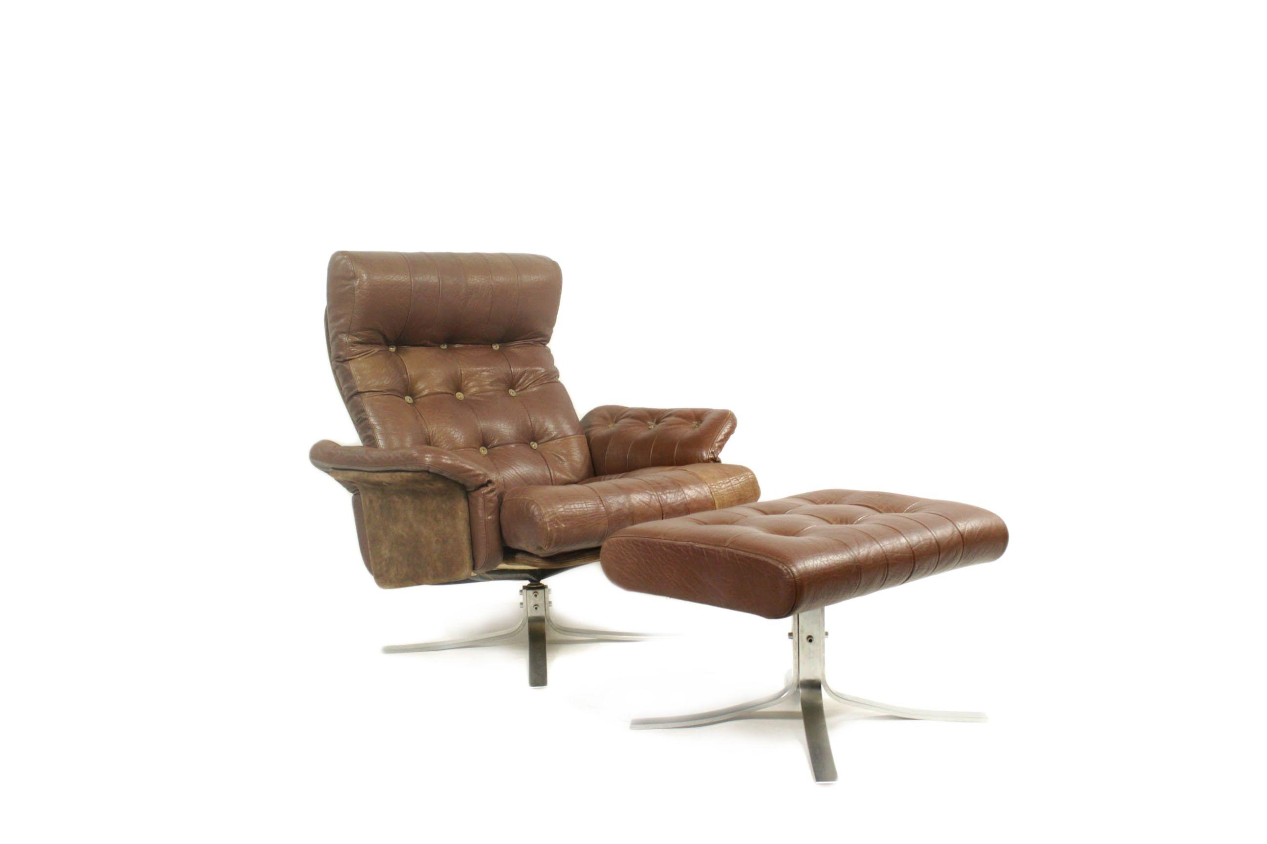 Vintage Danish Leather Swivel Lounge Chair With Ottoman By Ebbe Gehl Soren Nissen For Jeki Mobler