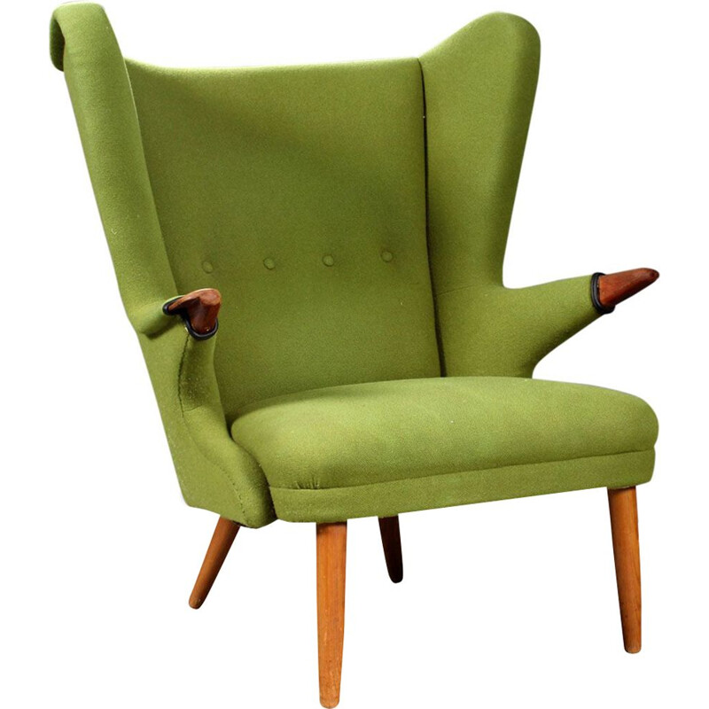 Vintage scandinavian armchair in green wool and teak 1960
