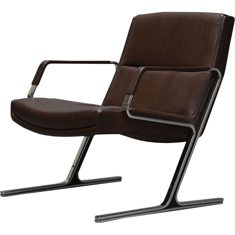 Vintage scandinavian armchair for Knoll in brown leather and steel 1980