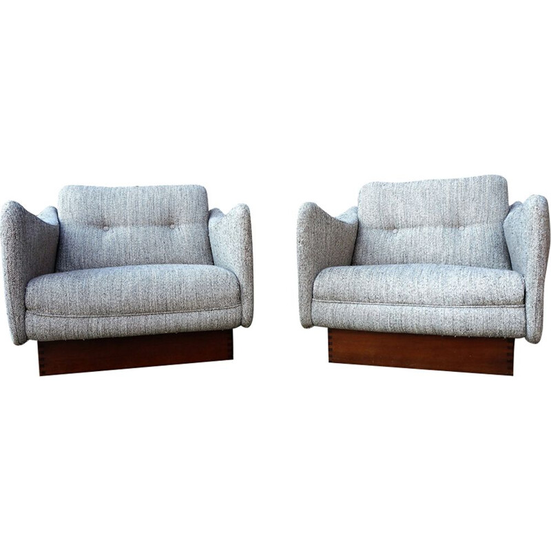Pair of vintage Teckel armchairs for Steiner in grey fabric 1960