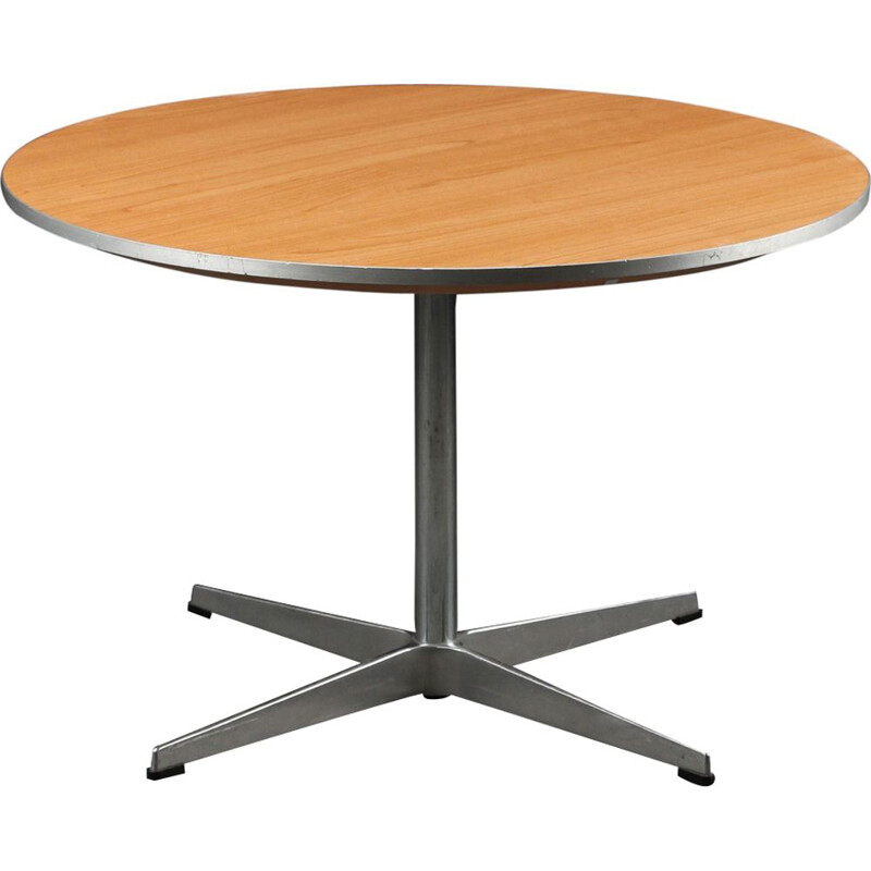 Vintage scandinavian coffee table for Fritz Hansen in ashwood and metal 1960