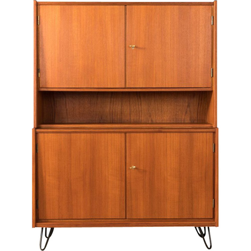 Vintage scandinavian highboard in teakwood and steel 1950