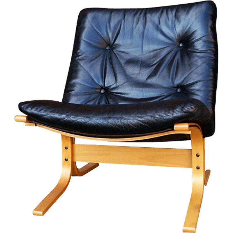 Vintage scandinavian Siesta armchair by Ingmar Relling in black leather
