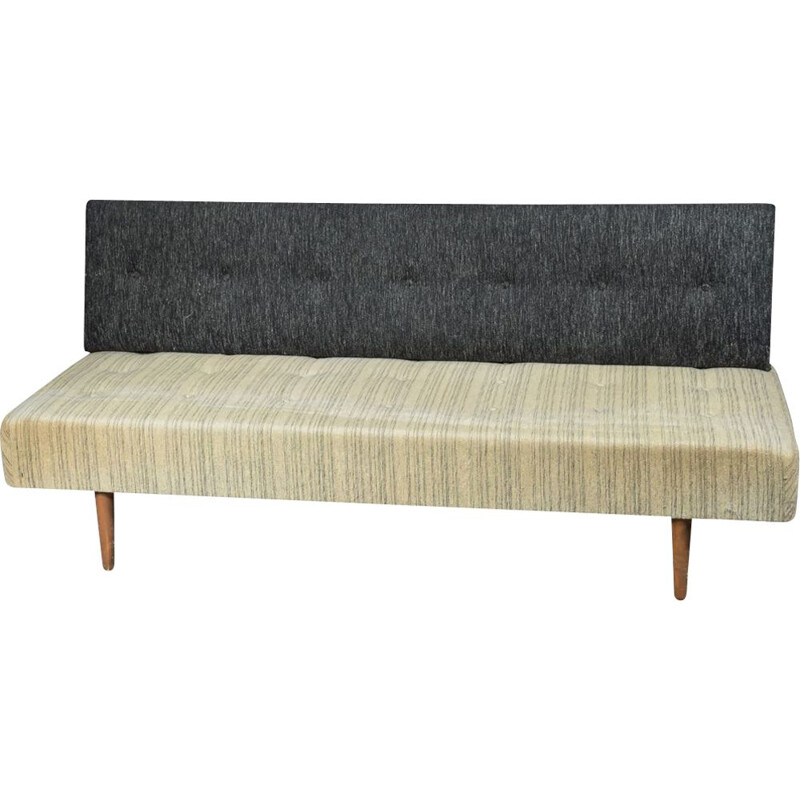 Vintage scandinavian sofa in grey wool and wood 1960