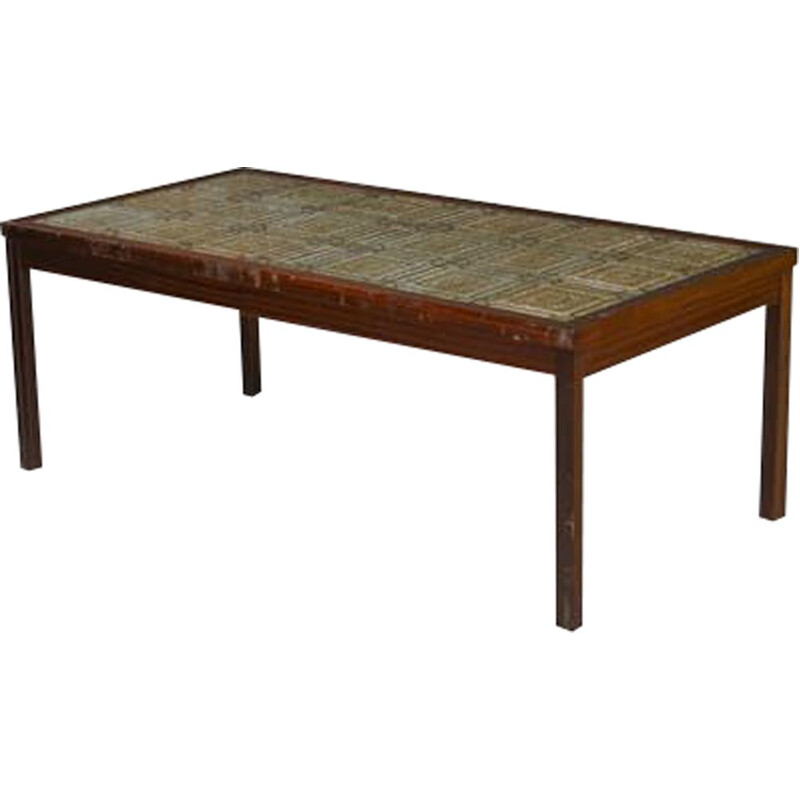 Vintage scandinavian coffee table in ceramics and mahogany 1950
