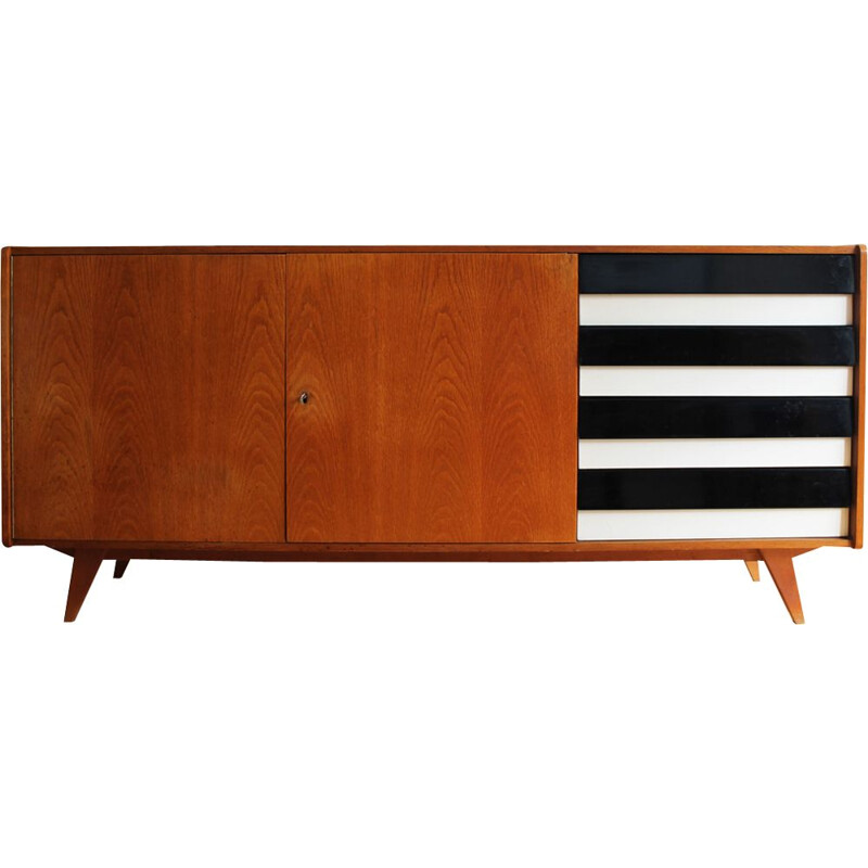Vintage U-460 sideboard for Interier Praha in wood and formica 1960