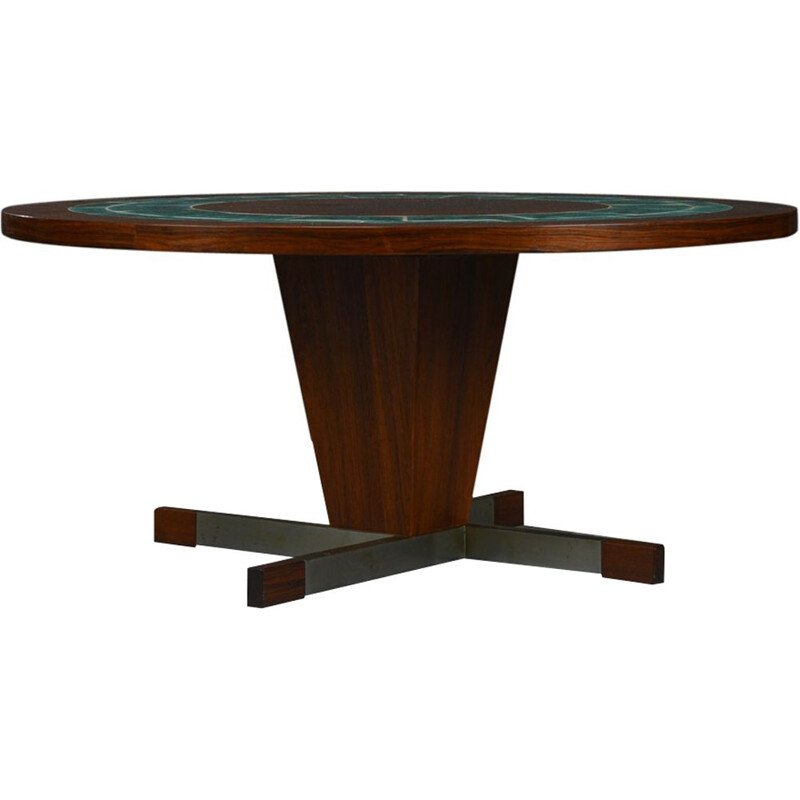 Vintage coffee table in rosewood round with green tile Denmark 1960s