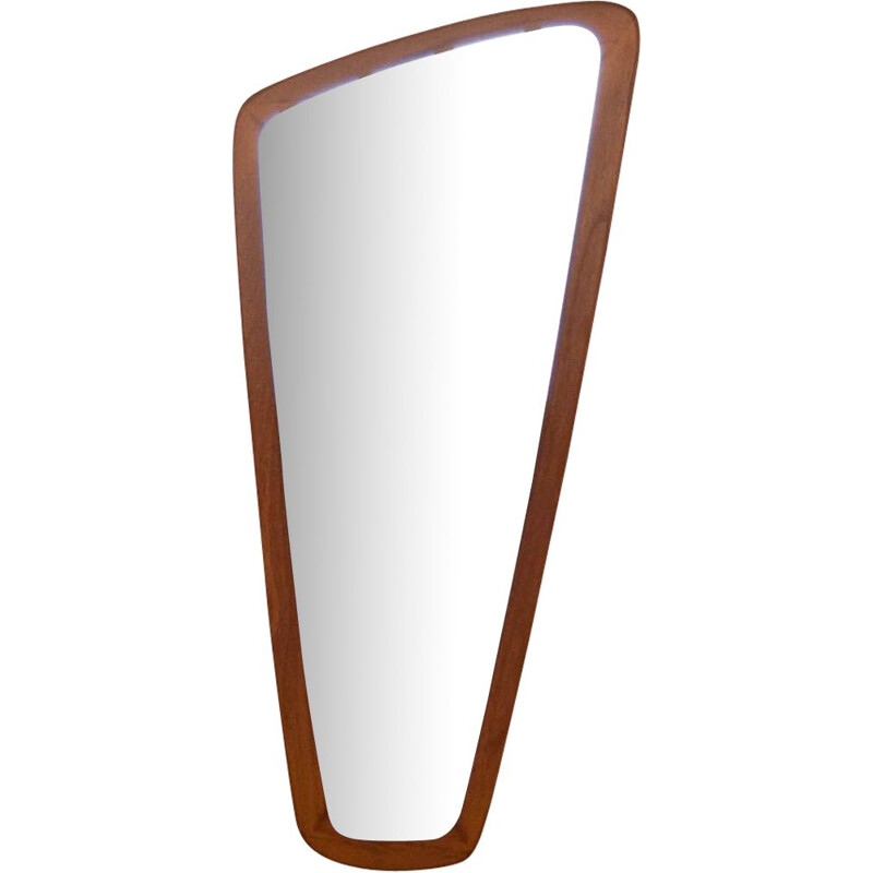 Vintage mirror asymmetric in teak Scandinavian 1960s