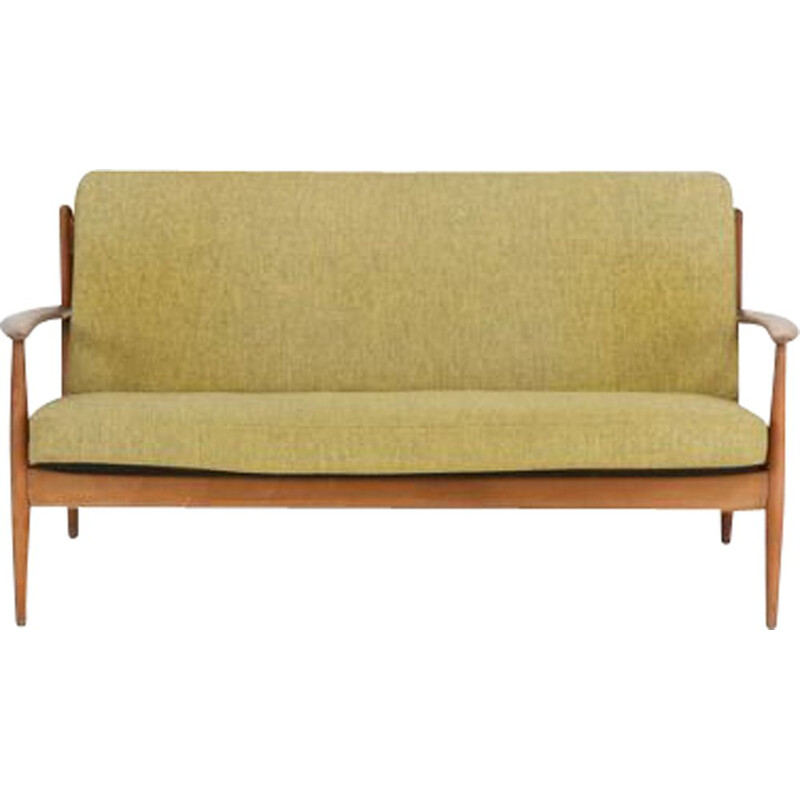 Vintage 2-seater sofa by Grete Jalk in beech and wool Denmark 1950s