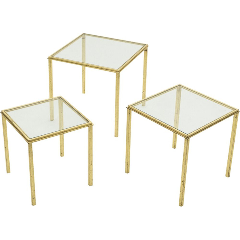 Vintage nesting tables in wrought iron gilded with gold leaf by Robert Thibier 1960s