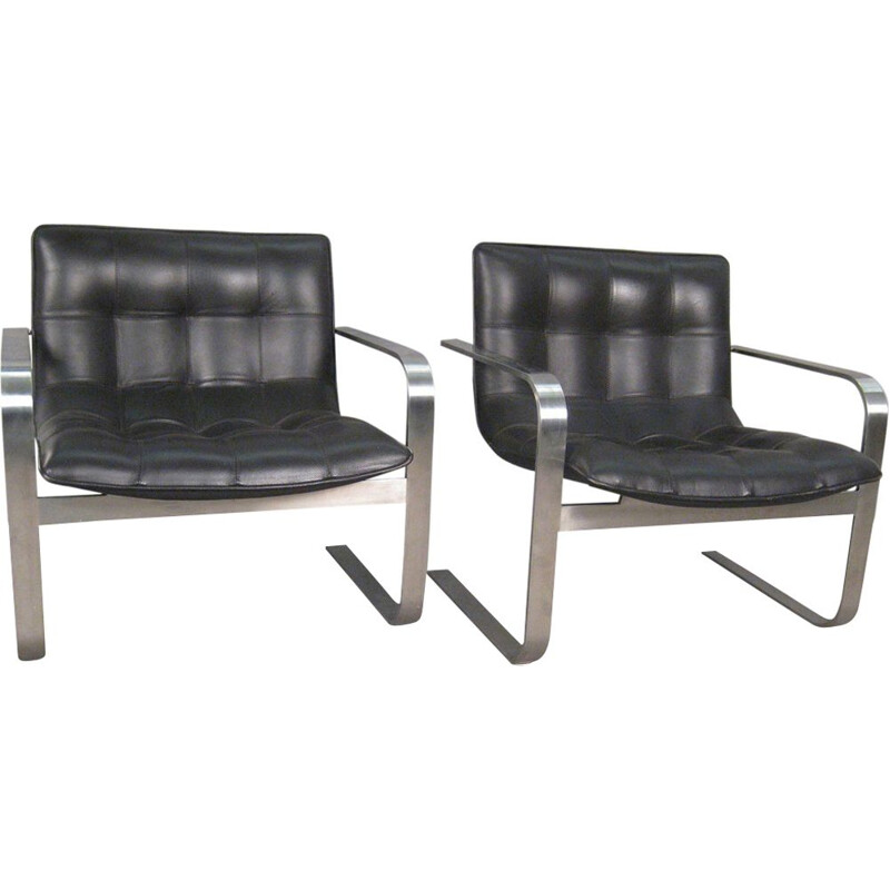 Vintage armchair modern in leather and steel 1990s